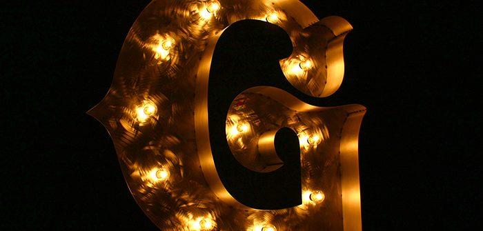 アルファベット「G」の鉄製マーキーライト製作例(裸電球点灯イメージ)