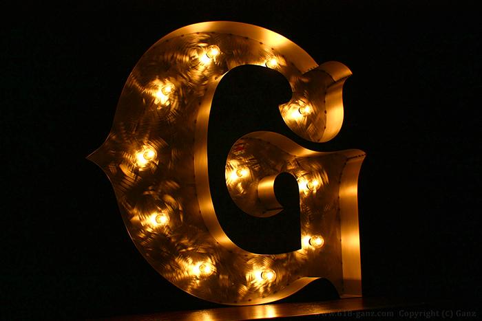 【マーキーライト】「G」アルファベット箱文字看板