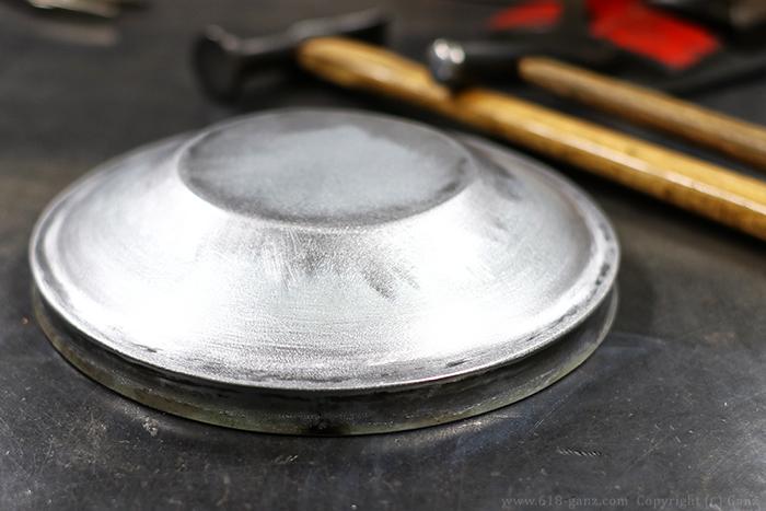 シートメタルを鈑金して灰皿のフタを製作