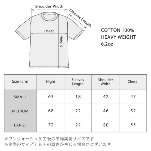 GANZ Tee のサイズ表(6.2oz)