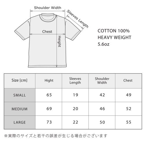GANZ Tee のサイズ表(5.6oz)